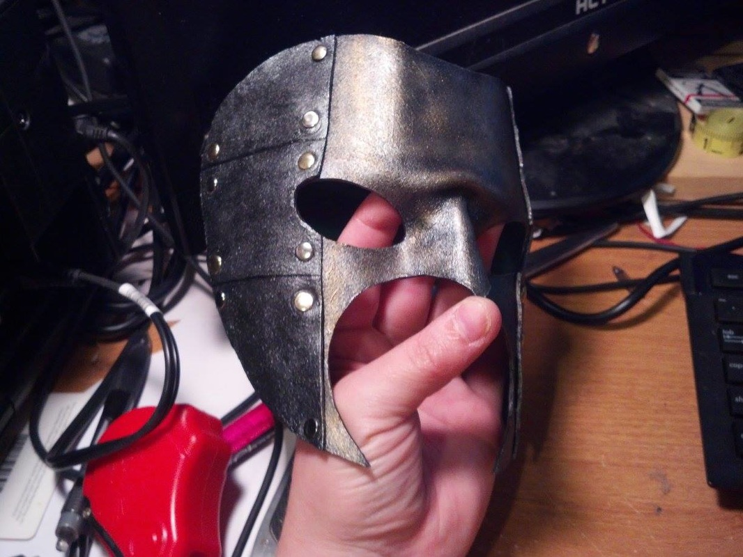 Leather mask, with rivets. Steampunk style